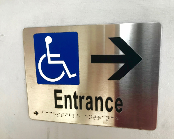 Entrance wayfinding ADA signs by VizComm Signage Group in Fountain Valley, CA
