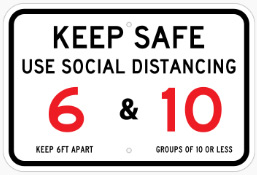 Keep safe - social distancing signs