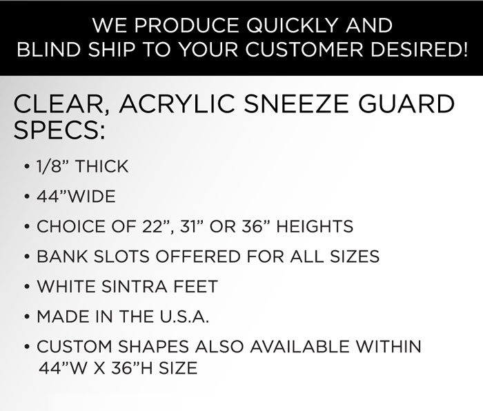 Acrylic sneeze guard specs