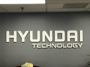 Custom signs for front office of Hyundai Technology in Orange County