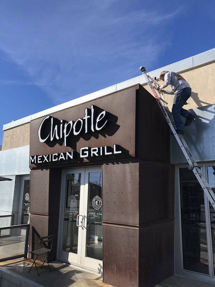 Custom outdoor business signs Chipotle in Orange County, CA