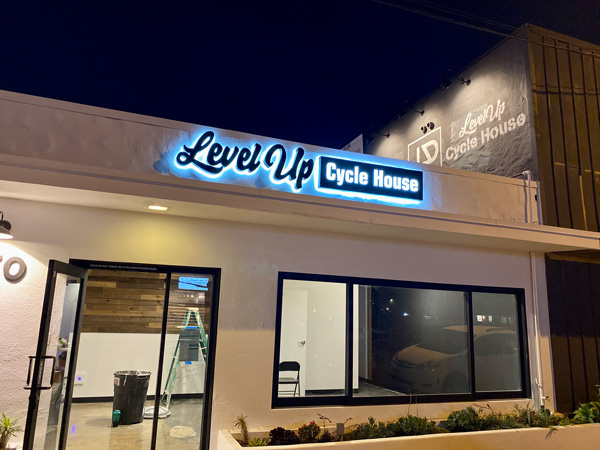 Level Up Cycle House Lighted Channel Letters