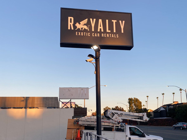 Outdoor business signs for Exotic Car Rental