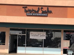 Storefront signs for Twisted Salon in Orange County by VizComm Signage Group