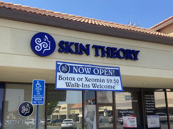 Custom Outdoor Business Signs for Skin Theory by VizComm Signs and Graphics in Fountain Valley, CA
