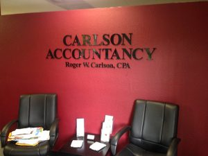 Custom Lobby Signs for Carlson Accountancy in California
