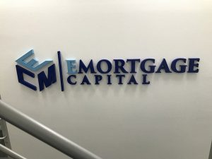 Emortage Capital Custom Lobby Signs in Fountain Valley, CA