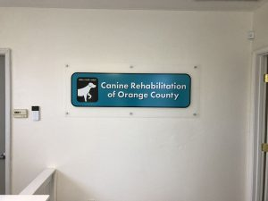 Acrylic Lobby Signs for Canine Rehabilitation of Orange County