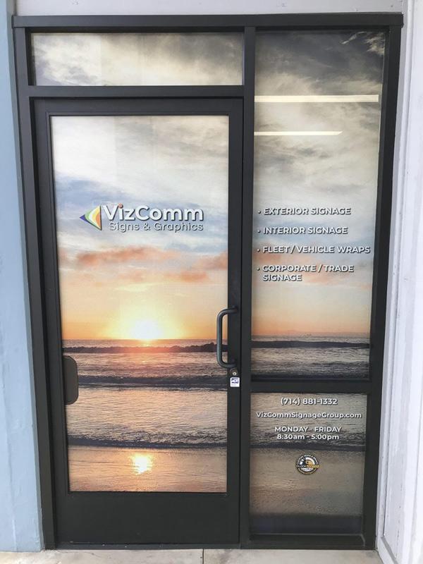 Custom Vinyl Door Signs for VizComm Office