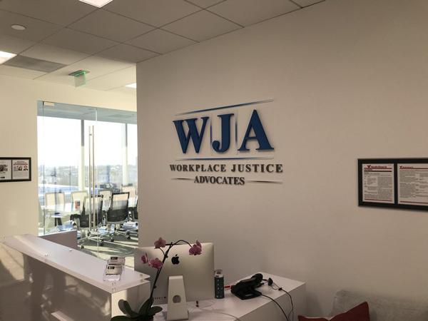 WJA Custom Lobby Signs in Irvine, California