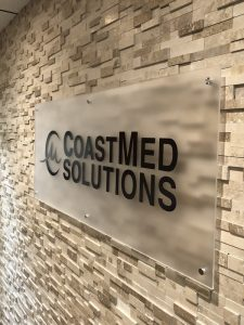Office Lobby Signs for Coast Med Solutions in Huntington Beach, CA