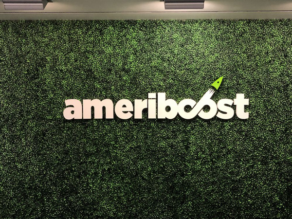 Custom Made Lobby Signs for Ameriboost by VizComm Signs and Graphics in Fountain Valley, CA